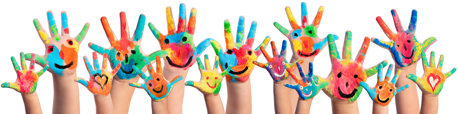 finger-painted raised hands with smiles and heart