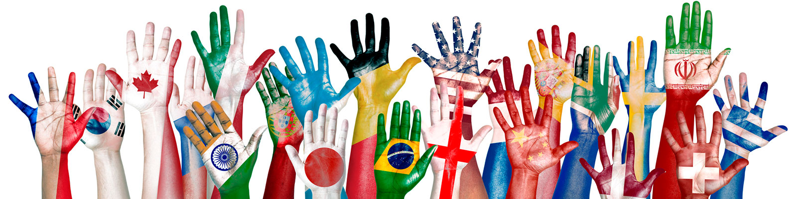 raised hands painted with international flags