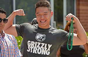 "Student wearing a ""Grizzly Strong"" t-shirt."
