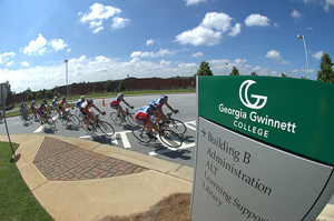 photo of cycling group on GGC campus