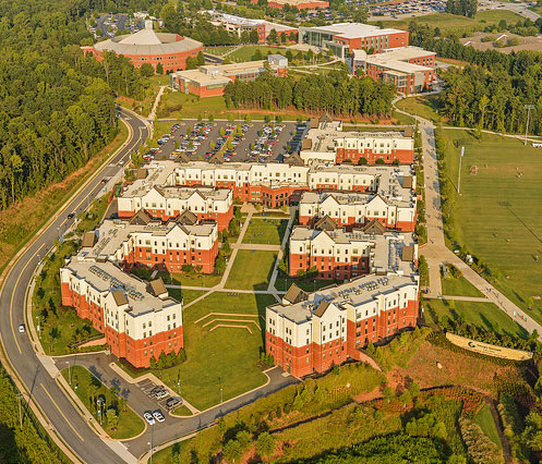 aerial view of Residence Life buildings with campus beyond