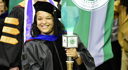 Faculty carrying GGC mace at commencement