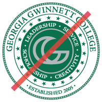 incorrect college seal with deleted components