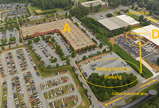 Testing Services parking map: Building D gravel lot (to the west), enter building using the west entrance (not south entrance).