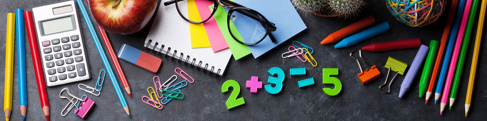 colorful school supplies and math