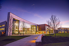 Kaufman Library at night