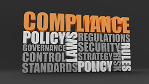 Compilation of words: compliance, policy, laws, rules, governance, control, standards, regulations, security, strategy, risk.
